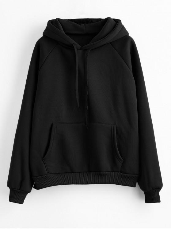 best Drawstring Raglan Sleeve Front Pocket Hoodie - BLACK XL