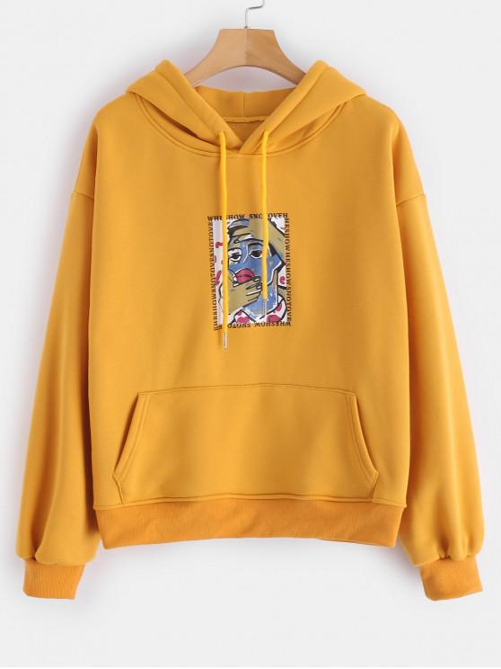 trendy Graphic Fleece Line Pockets Hoodie - BEE YELLOW M