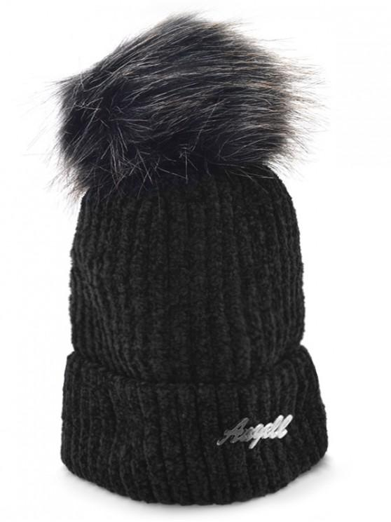 womens Solid Color Fuzzy Ball Knit Cap - BLACK