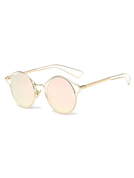 outfit Metal Frame Hollow Out Round Sunglasses - PINK