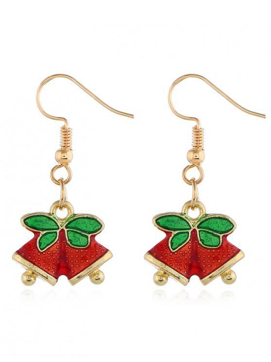 shop Christmas Leaves Bells Printed Hook Earrings - GOLD