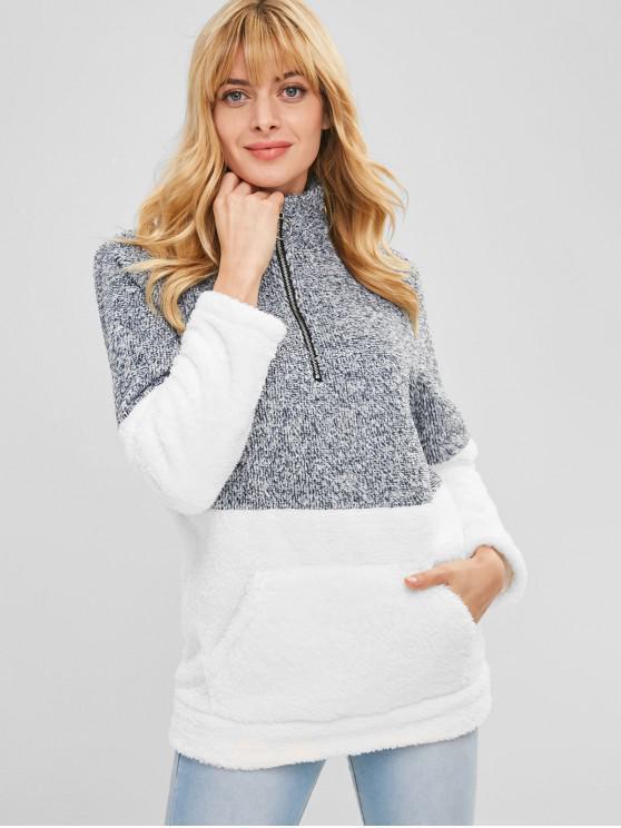 Sweat-shirt Fourré en Blocs de Couleurs à Demi-Zip - Blanc M