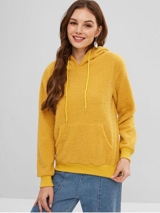 online Front Pocket Drawstring Fluffy Teddy Hoodie - BEE YELLOW L
