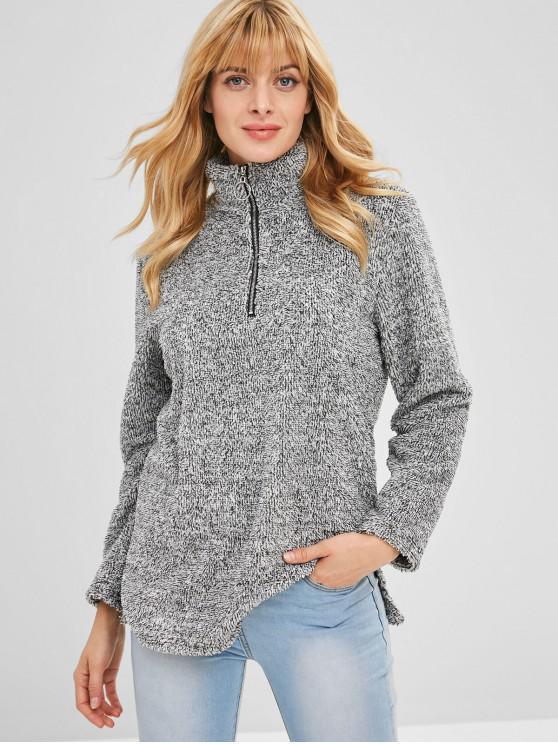 shops Half Zip Fluffy Heathered Teddy Sweatshirt - DARK GRAY L