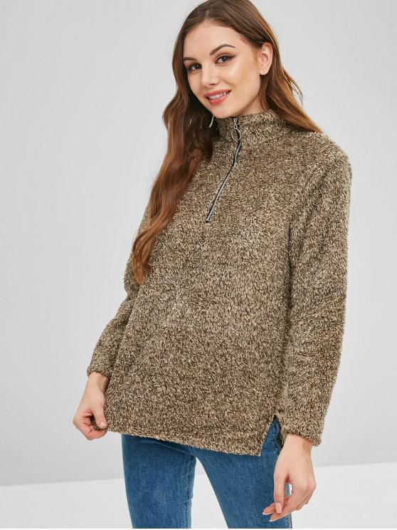 fashion Half Zip Fluffy Heathered Teddy Sweatshirt - COFFEE L