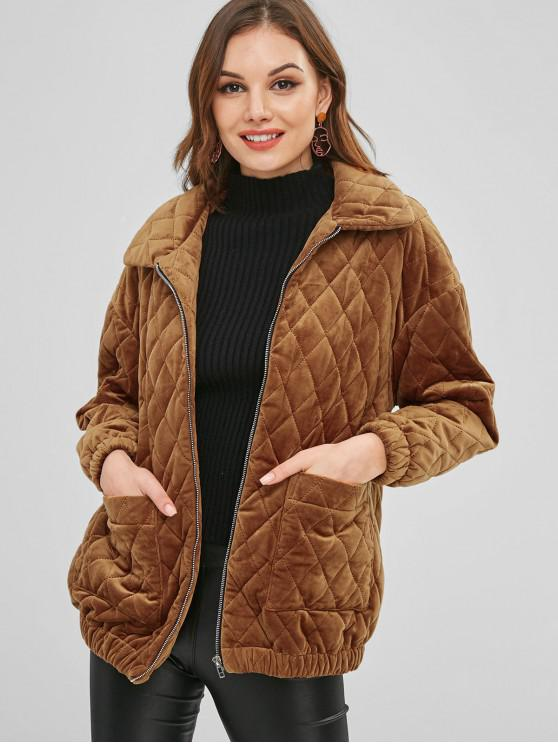 unique ZAFUL Zip Up Pockets Fleece Coat - LIGHT BROWN L