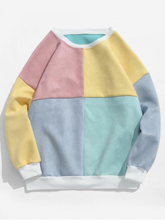 outfits ZAFUL Color Block Suede Sweatshirt - MULTI-D L