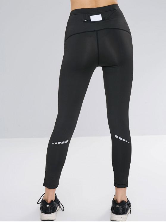 chic Striped Reflective Design Pocket Leggings - BLACK L