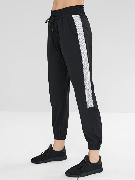 Pantaloni Da Jogging A Blocchi Di Colore Con Inserti A Rete - Nero M