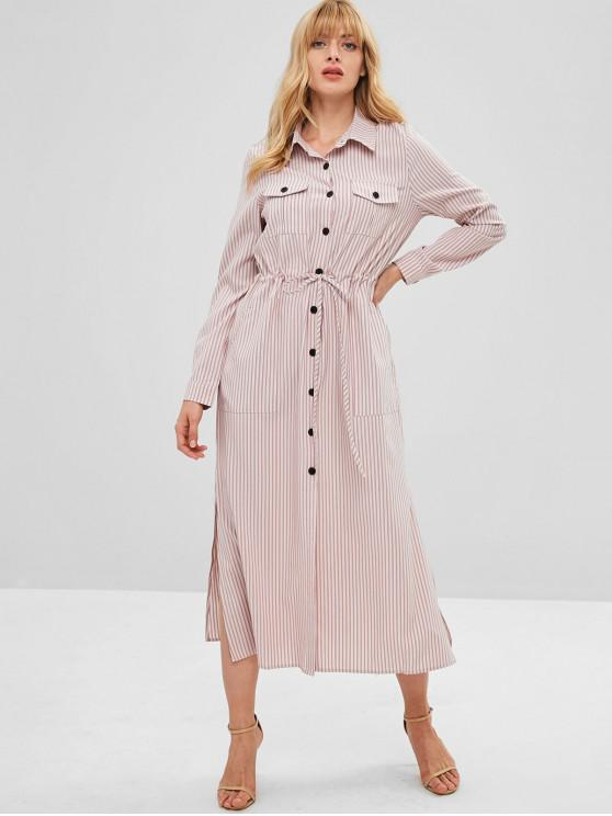 women ZAFUL Striped Drawstring Shirt Dress with Slit - LIPSTICK PINK M