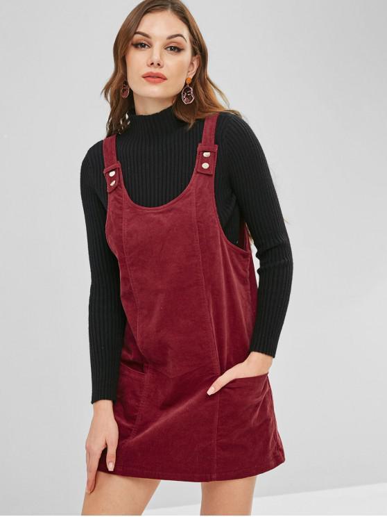 lady ZAFUL Corduroy Backless Pinafore Dress - RED WINE S