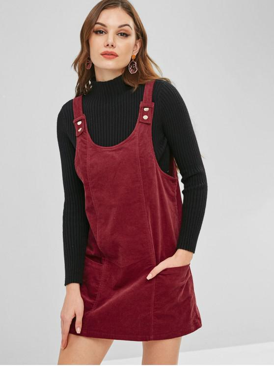 best ZAFUL Corduroy Backless Pinafore Dress - RED WINE M