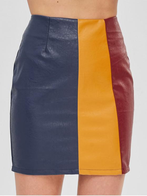 hot ZAFUL Faux Leather Colorblock Mini Skirt - MULTI S