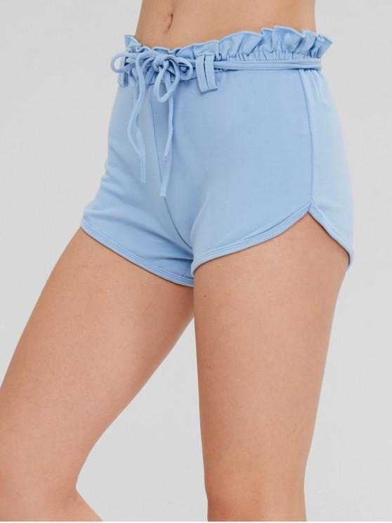 Shorts deportivos de cintura elástica con volantes - Azul Cristal L