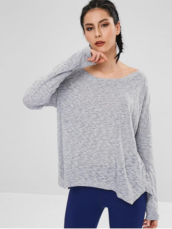 chic Drop Shoulder Slit Loose T-shirt - GRAY L