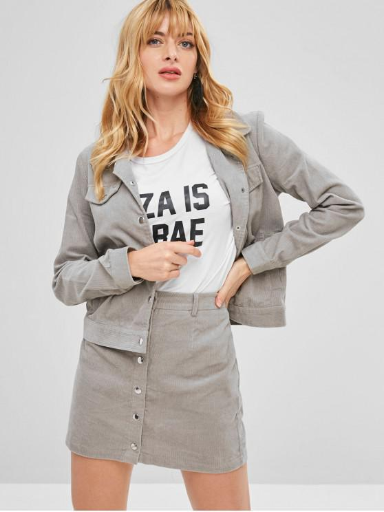 unique ZAFUL Corduroy Jacket and Button Fly Skirt Set - GRAY M