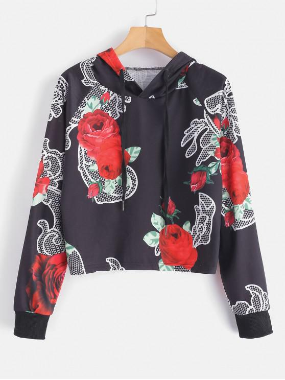 fancy Floral Graphic Raglan Sleeve Cropped Hoodie - MULTI-A S