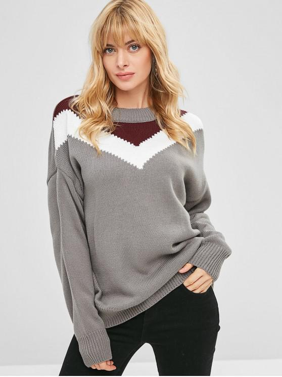 fancy Pullover Drop Shoulder Stripes Panel Sweater - GRAY CLOUD ONE SIZE