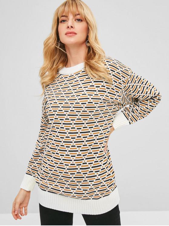 unique Geometric Graphic Longline Sweater - MULTI ONE SIZE
