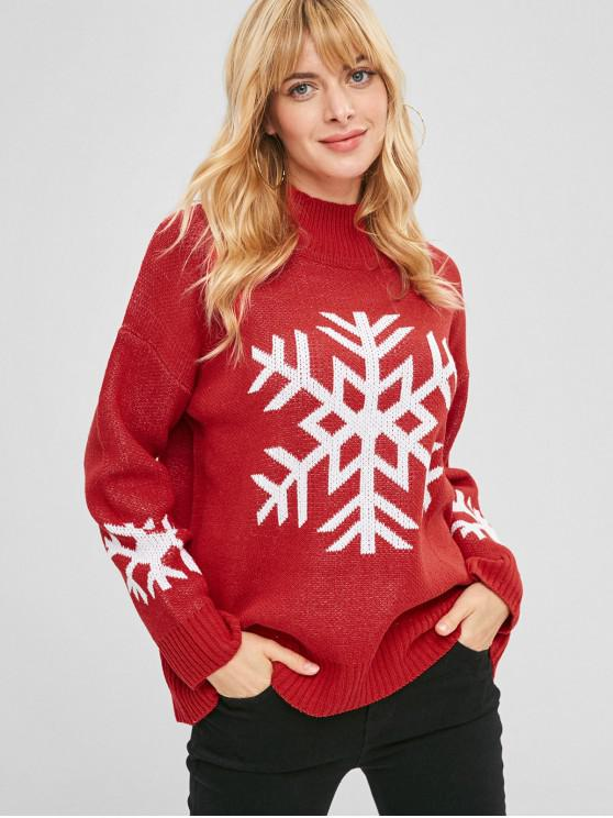women's High Neck Snowflake Christmas Sweater - RED ONE SIZE