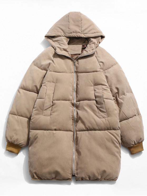 fashion Solid Bread Padded Trench Coat - LIGHT KHAKI XL