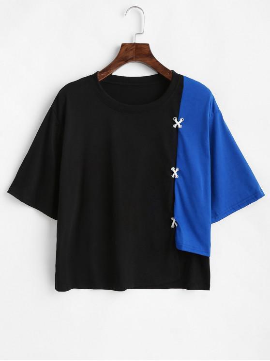 trendy Asymmetric Two Tone Cross Tee - COBALT BLUE M