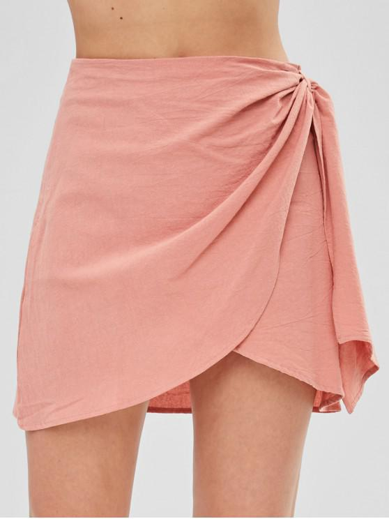 chic Zip Fly Short Wrap Skirt - ORANGE PINK L