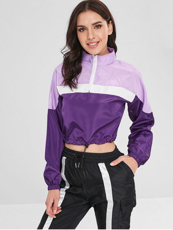 fashion Drawcord Waist Zipped Pullover Jacket - PURPLE IRIS S