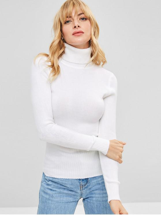 Long Sleeves Turtleneck Knitted Top   White by Zaful