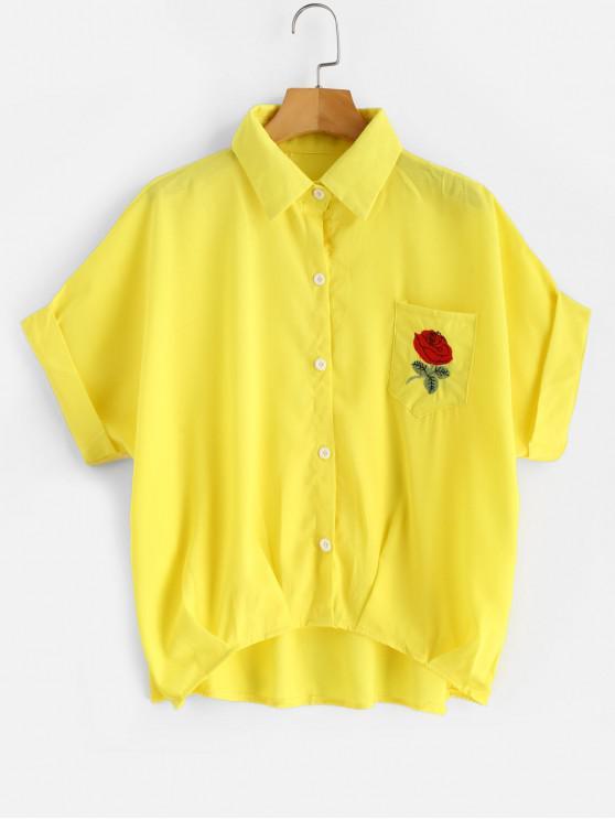Camisa de bolsillo con manga doblada y dobladillo floral - Amarillo Talla única