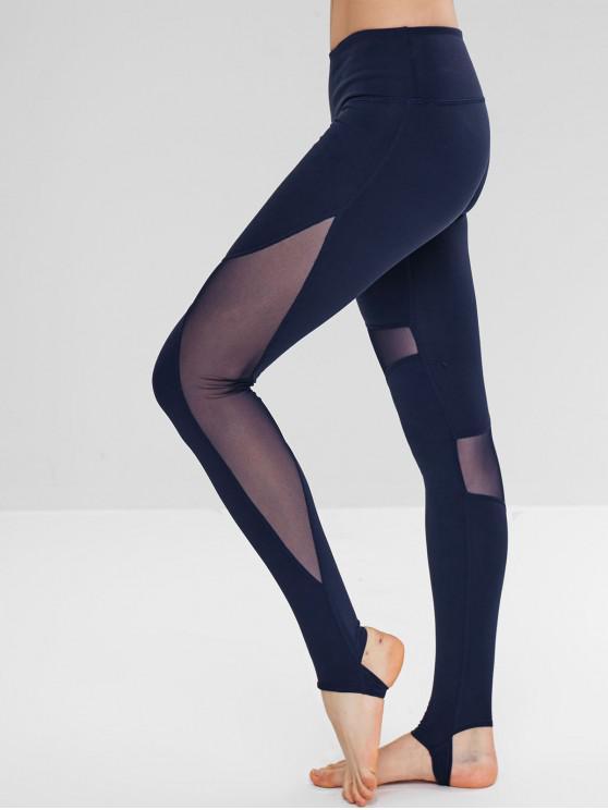 Leggings ativos do Gym do estribo da inserção da malha - Azul Escuro L