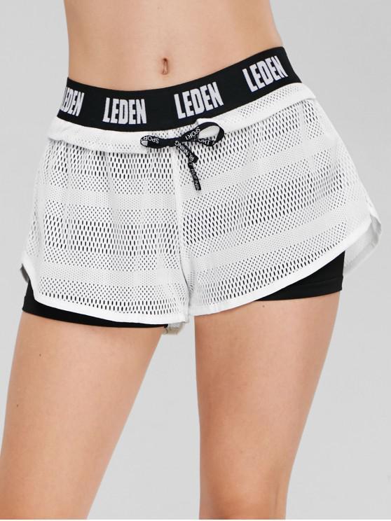 unique Letter Color Block Overlay Shorts - WHITE XL