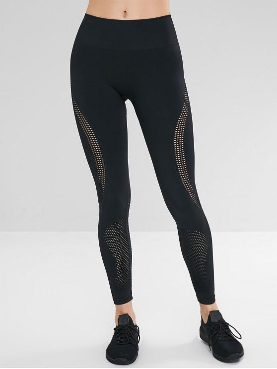 Leggings sem emenda do Gym perfurado do esporte da ioga - Preto L