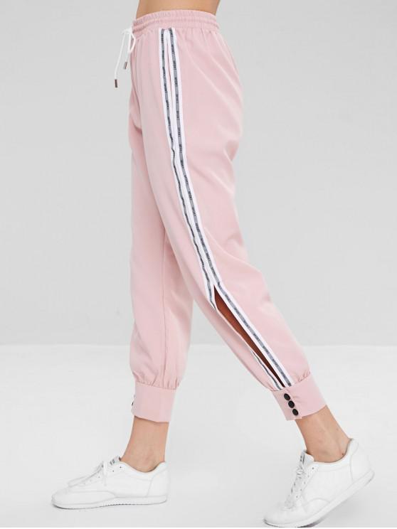 Pantalon Lettre Rayé à Rebords avec Bouton - Rose  XL