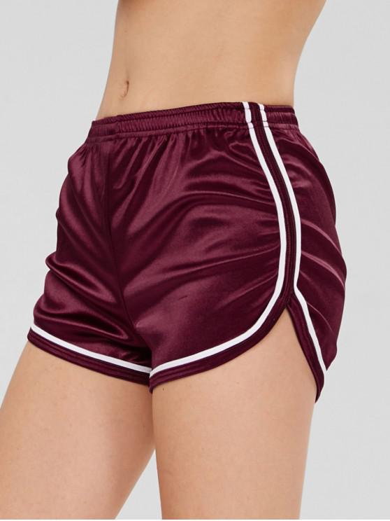 chic Dolphin Contrast Trim Workout Sport Shorts - RED WINE L