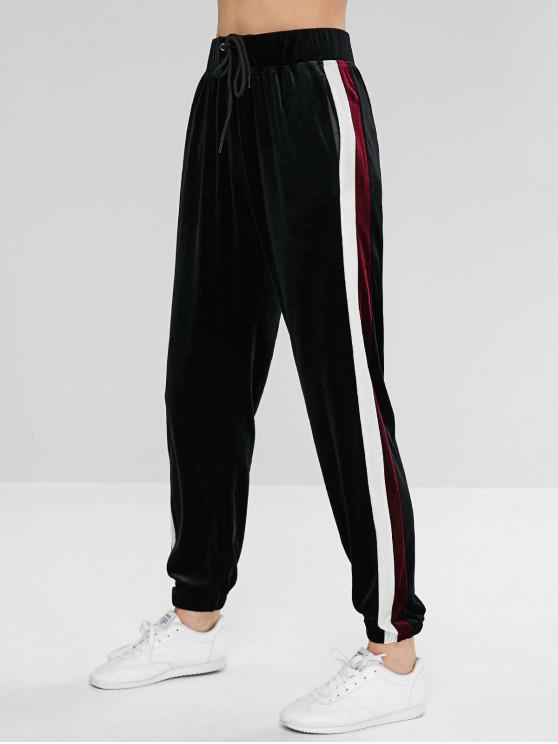 sale ZAFUL Striped Velvet Drawstring Jogger Pants - BLACK L
