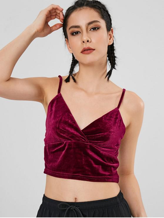 affordable Velvet Crop Camisole - RED WINE L