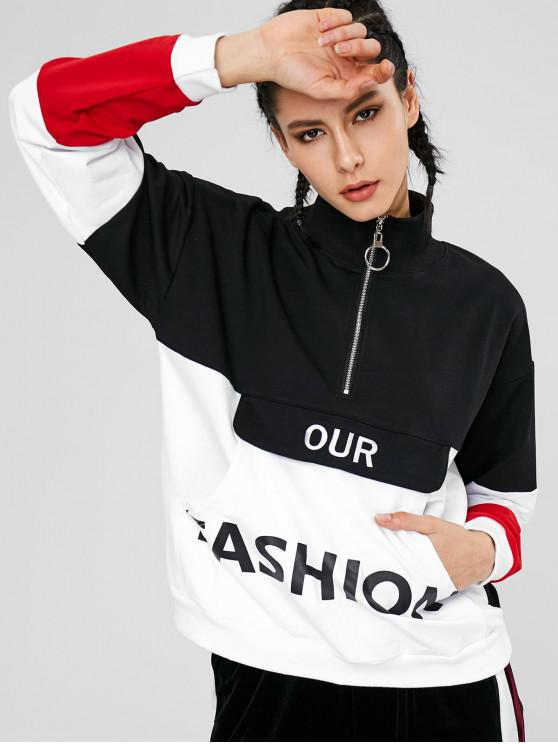 women Color Block Pouch Graphic Sports Sweatshirt - BLACK L