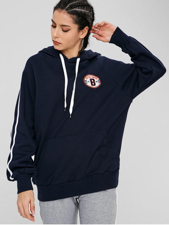 Felpa Con Cappuccio Pullover Plus Size Con Tasca - Blu Mezzanotte  L