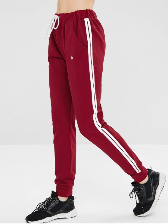 ZAFUL Pantalon de Jogging Rayé avec Poche à Cordon - Rouge Vineux M
