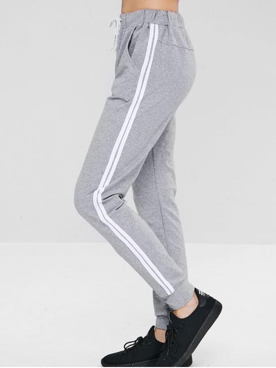 trendy ZAFUL Striped Drawstring Pocket Jogger Pants - GRAY L