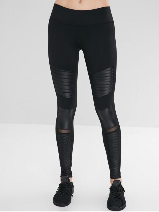 Aktive geraffte Moto Gym Leggings - Schwarz L