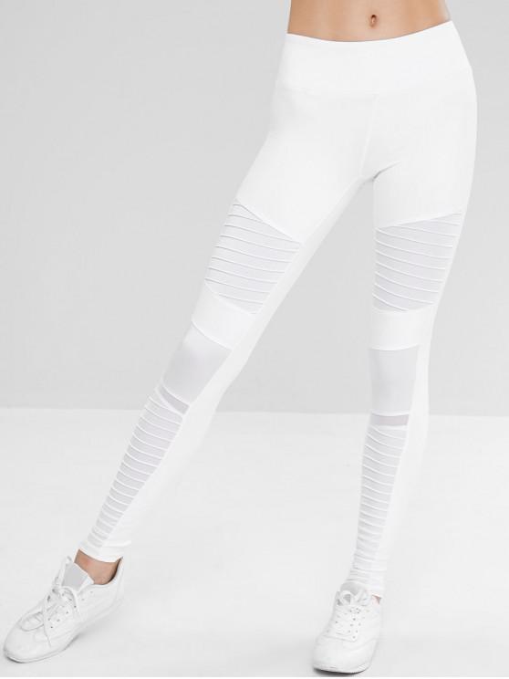 Leggings de ginástica Moto Ruched ativos - Branco L