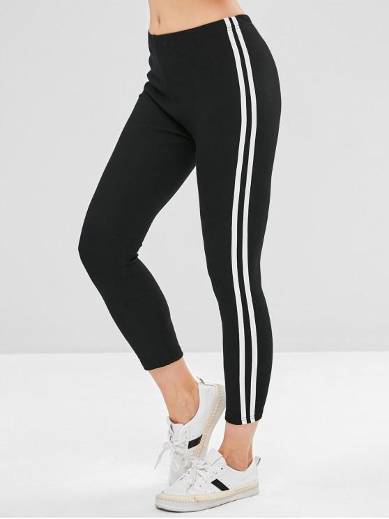 womens Side Striped Skinny Leggings - BLACK ONE SIZE