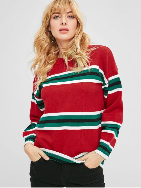 e51fa19934 38% OFF  2019 Christmas Striped Drop Shoulder Sweater In MULTI-A ONE ...