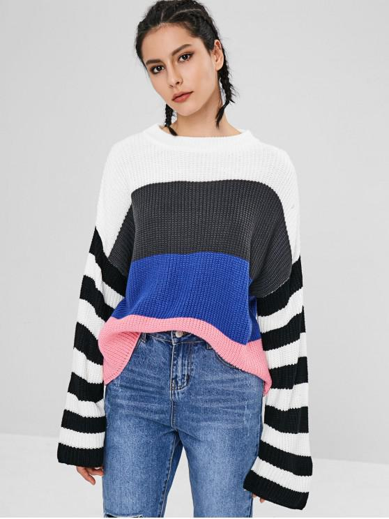 outfit Drop Shoulder Crew Neck Stripes Sweater - MULTI-A ONE SIZE