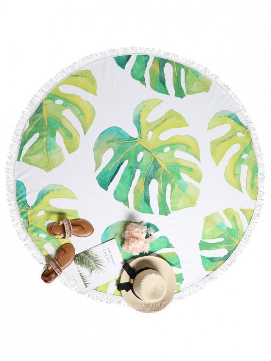 Toalla de playa con flecos de hoja tropical - Multicolor-A Talla única