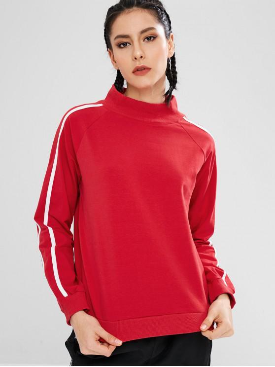 Sweat-shirt Rayure Latérale à Col Montant - Rouge L