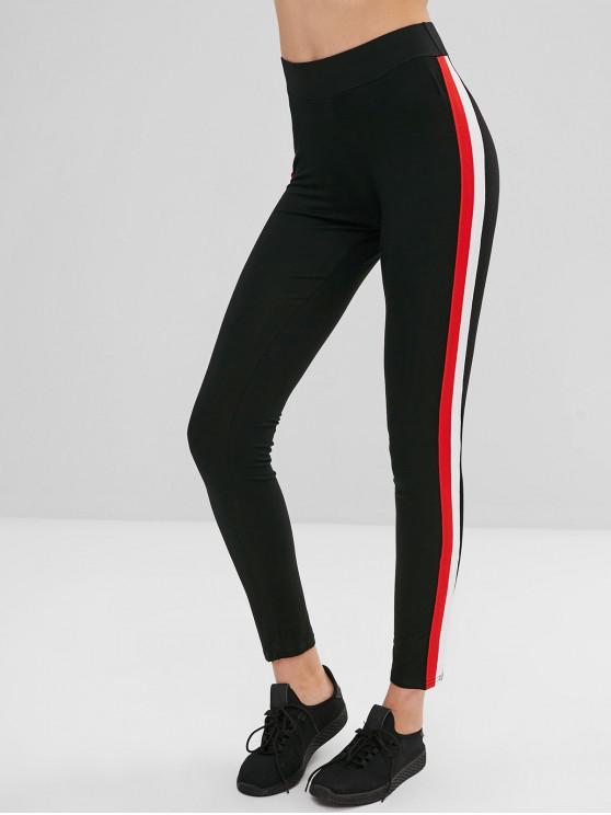 outfits Hit Color Ribbon Splicing Leggings - BLACK XL