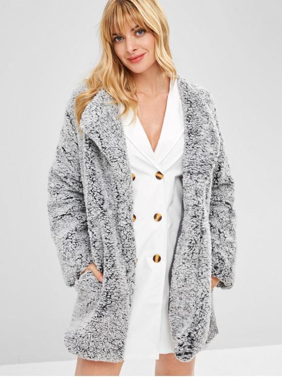 women's Open Front Loose Fluffy Coat - SLATE GRAY XL